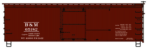 Accurail HO 1809 36' Wood Box Car, Boston and Maine #65182