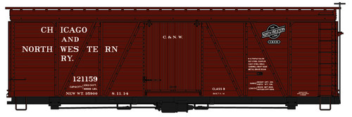 Accurail HO 1180 Fowler 36' Wood Box Car Kit, Chicago and North Western #121159