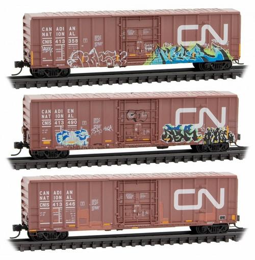 Micro-Trains N 99305790 50' Ribside Box Car with Plug Door and No Roofwalk, Canadian National (Graffiti 3-Pack)