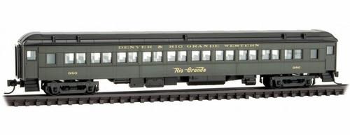 Micro-Trains N 14500390 78' Heavyweight Paired-Window Coach, Denver and Rio Grande Western #980