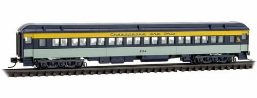 Micro-Trains N 14500410 78' Heavyweight Paired-Window Coach, Chesapeake and Ohio #604