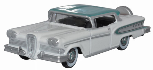 Oxford Diecast HO 87ED58007 1958 Edsel Citation, Snow White/Turquoise