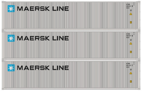 Athearn N 17638 40' Low-Cube Containers, Maersk (3)