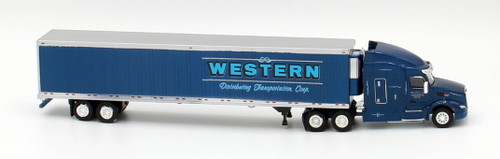 Trucks N Stuff HO 400659 Peterbilt 579 Sleeper Cab Tractor with 53' Reefer Van Trailer, Western Distributing