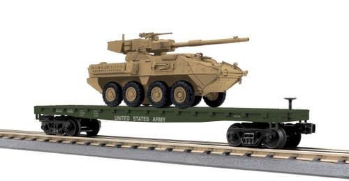 MTH RailKing O 30-76836 Flat Car with One Stryker Vehicle, U.S. Army #8230