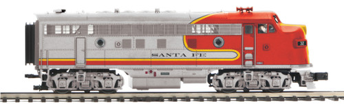 MTH Premier O 20-21497-1 F-3 A Unit Diesel Engine with Hi-Rail Wheels, Santa Fe #35L