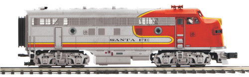 MTH Premier O 20-21498-1 F-3 A Unit Diesel Engine with Hi-Rail Wheels, Santa Fe #35C
