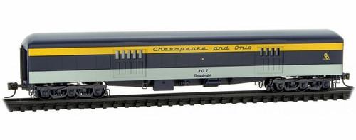 Micro-Trains N 14700410 70' Heavyweight Baggage Car, Chesapeake and Ohio #307