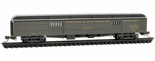 Micro-Trains N 14700390 70' Heavyweight Baggage Car, Denver and Rio Grande Western #742