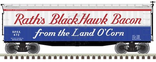 Atlas O 3001561 40' Wood Refrigerator Car, Raths Black Hawk Bacon