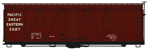 Accurail HO 11601 36' Fowler Wood Box Car Kit, Pacific Great Eastern #3527