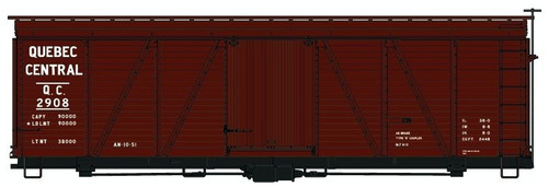 Accurail HO 11691 36' Fowler Wood Box Car Kit, Quebec Central #2908