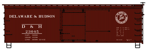 Accurail HO 1410 36' Double Sheath Wood Box Car Kit, Delaware and Hudson #23045