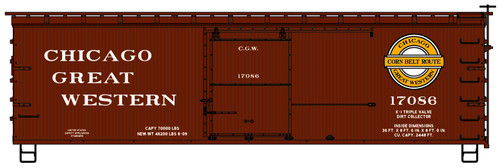 Accurail HO 1715 36' Double Sheath Wood Box Car Kit, Chicago Great Western #17086