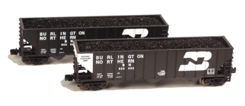 Full Throttle Z FT8029-1 Open 100-Ton Hopper 2-Car Set, Burlington Northern #1
