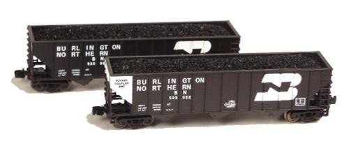 Full Throttle Z FT8029-2 Open 100-Ton Hopper 2-Car Set, Burlington Northern #2
