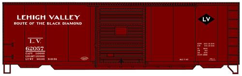 Accurail HO 3460 40' PS-1 Box Car Kit, Lehigh Valley #62057