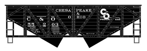 Accurail HO 81361 Wood-Side Twin Hopper Kit, Chesapeake and Ohio