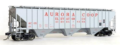 Tangent Scale Models HO 20036-02 PS-2CD 4750 Covered Hopper, Aurora Co-Op Elevator Co. #21