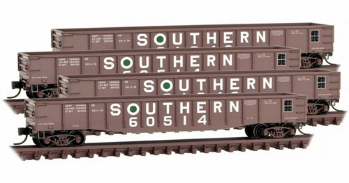Micro-Trains N 99300176 50' Steel Side, 14-Panel, Fixed End Gondola with Fishbelly Sides, Southern (4-Car Runer Pack)