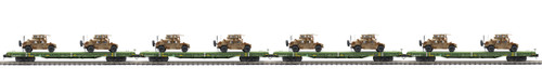 MTH Premier O 20-92274 60' Flat Car Set with Two Humvee Vehicles 4-Car Set, US Army