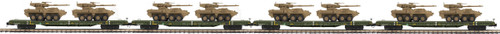 MTH Premier O 20-92276 60' Flat Car Set with Two Stryker Vehicles 4-Car Set, US Army
