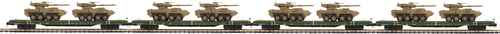 MTH Premier O 20-92277 60' Flat Car Set with Two Stryker Vehicles 4-Car Set, US Army