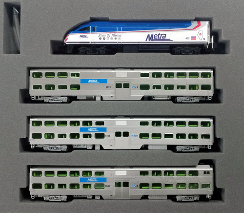 """Kato N 1068701-KB3 MP36PH and Bi-Level Coach, Chicago Metra """"State of Illinois"""" 4-Unit Collector's Set"""