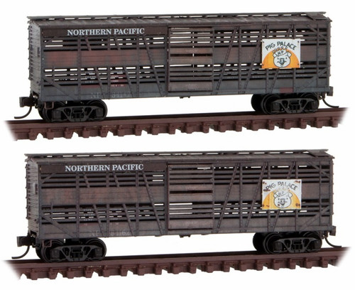 """Micro-Trains N 99305820 Weathered 40' Despatch Stock Car, Northern Pacific """"Pig Palace"""" (2-Pack)"""
