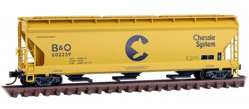Micro-Trains N 09400660 3-Bay Covered Hopper with Elongated Hatches, Chessie System (B&O) #602259