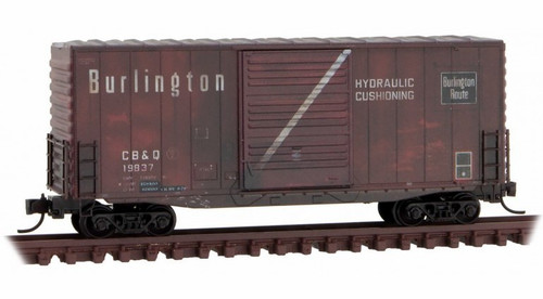 Micro-Trains N 10144140 Weathered 40' Hy-Cube Box Car, Chicago Burlington and Quincy #19837
