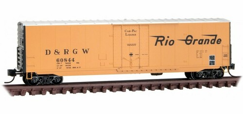 Micro-Trains N 18100150 50' Standard Box Car with 8' Plug Door, No Roofwalk, and Short Ladders, Denver and Rio Grande Western #60844