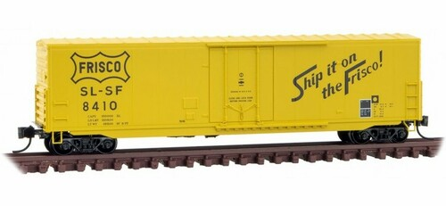 Micro-Trains N 18100180 50' Standard Box Car with 8' Plug Door, No Roofwalk, and Short Ladders, Frisco #8410