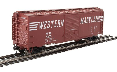 Walthers Mainline HO 910-2269 40' ACF Welded Box Car with 8' Door, Western Maryland #4205
