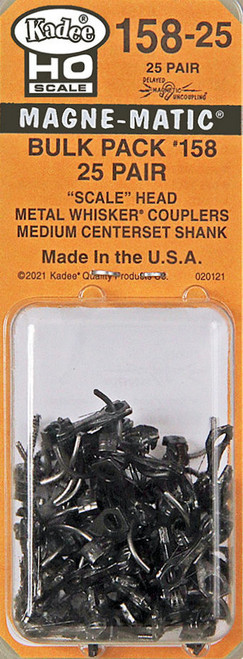 Kadee HO #158-25 Scale Whisker Metal Couplers with Medium Centerset Shank (Bulk Pack 25 Pair)