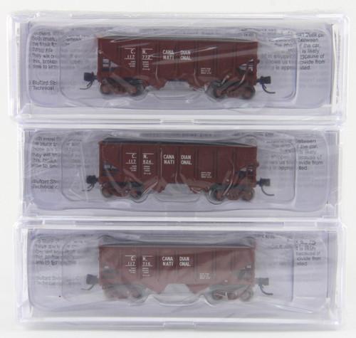 "Bluford Shops N 62093 30' 6"" 2-Bay Panel Side Hoppers, Canadian National (3-Pack)"