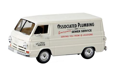 Brekina HO 93442 1967 Dodge A 100 Cargo Van, Associated Day and Night Plumbing