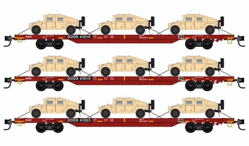 Micro-Trains N 99301621 68' DODX 'Red' Flat Car with Humvee Load, Department of Defense (3-Pack)