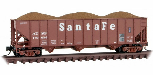 Micro-Trains N 10800124 100-Ton 3-Bay Open Hopper with Rib Sides and Coal Load, Atchison Topeka and Santa Fe #179697