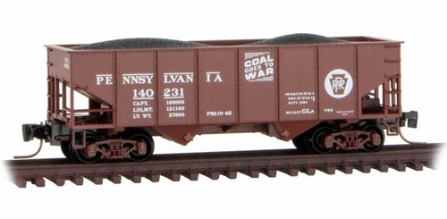 Micro-Trains Z 53400111 33' Twin Bay Hopper with Rib Sides, Pennsylvania Railroad #139876