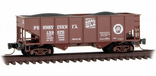 Micro-Trains Z 53400112 33' Twin Bay Hopper with Rib Sides, Pennsylvania Railroad #140231