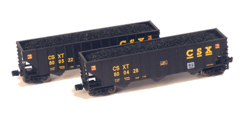 Full Throttle Z FTPZ8024 100-Ton 3-Bay Open Hopper Set, CSX (2-Pack)