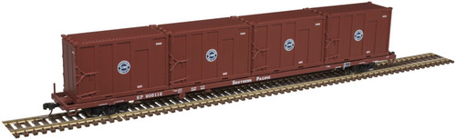 Atlas Trainman N 50005429 85' Trash Container Flat Car with 4 MSW Containers, Southern Pacific #905112