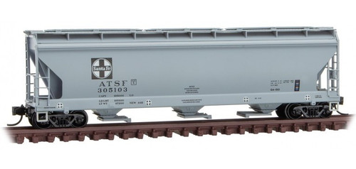 Micro-Trains N 09400690 3-Bay Covered Hopper with Elongated Hatches, Atchison Topeka and Santa Fe #305103
