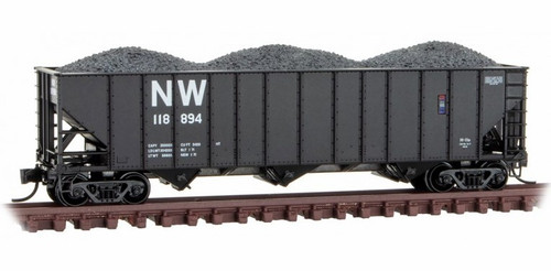 Micro-Trains N 10800421 100-Ton 3-Bay Open Hopper with Rib Sides and Coal Load, Norfolk and Western #118894