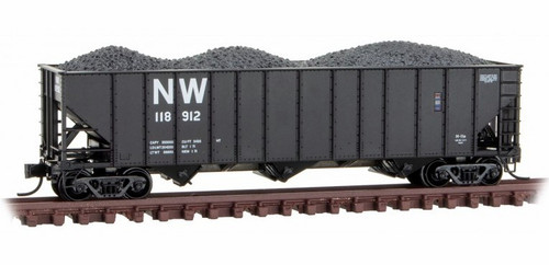Micro-Trains N 10800422 100-Ton 3-Bay Open Hopper with Rib Sides and Coal Load, Norfolk and Western #118912