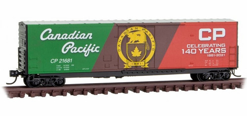 Micro-Trains N 18100160 50' Standard Box Car with Plug Door, No Roofwalk, and Short Ladders, Canadian Pacific (140th Anniversary) #21681