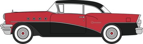 Oxford Diecast HO 87BC55006 1955 Buick Century, Carlsbad Black/Cherokee Red