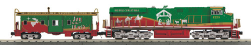MTH RailKing O 30-20758-1 ES44AC Imperial Diesel and Caboose Set, Christmas (Nativity) #1225