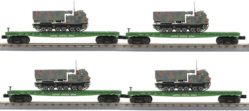MTH RailKing O 30-70118 4-Car Flat Car with M270 Rocket Launcher Vehicle Set, U.S. Army